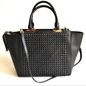 Henri Bendel Large Leather Woven Tote